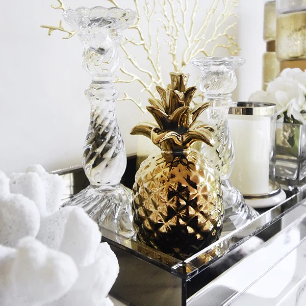 Decor Art Sculpture   Home Decor Online   FinnAvenue com     FINN AVENUE Home   Decor   Gold glossy gold pineapple accent sculptures that are great  as table art