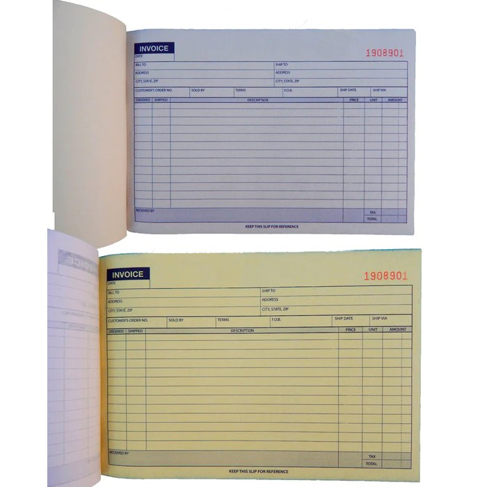 Carbonless Invoice Receipt Record Book 2 Part 50 Sets Duplicate         Carbonless Invoice Receipt Record Book 2 Part 50 Sets Duplicate Receipt  Copy