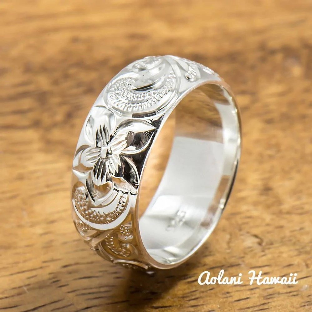 Silver Wedding Ring Set Of Traditional Hawaiian Hand Engraved Sterling Aolani Hawaii