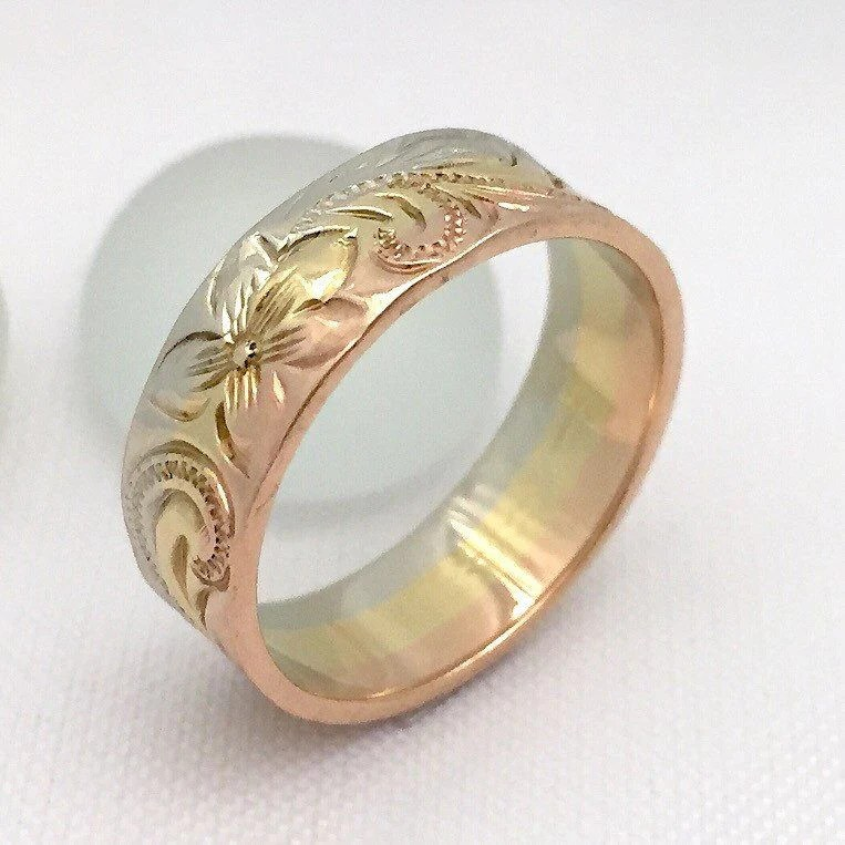 14k Gold Ring Traditional Hawaiian Hand Engraved 6mm Width Flat Styl Aolani Hawaii