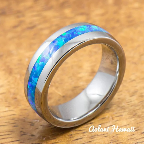 Wedding Band Set Of Tungsten Rings With Opal Inlay 6mm Amp 8mm Width B Aolani Hawaii
