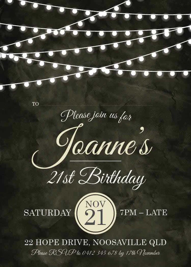 Cheap 21st Invitations Australia