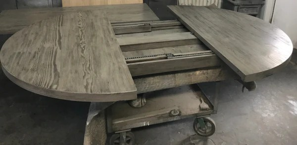 60 Quot Round Reclaimed Wood Extension Table With Metal Base