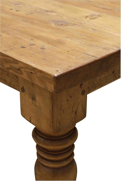Sienna Reclaimed Wood Turned Leg Dining Table Mortise