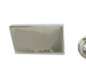 HD Decor Images » Products tagged  USA Map Shape    Kiola Designs Silver Toned Etched USA America Map Shape Lapel Pin