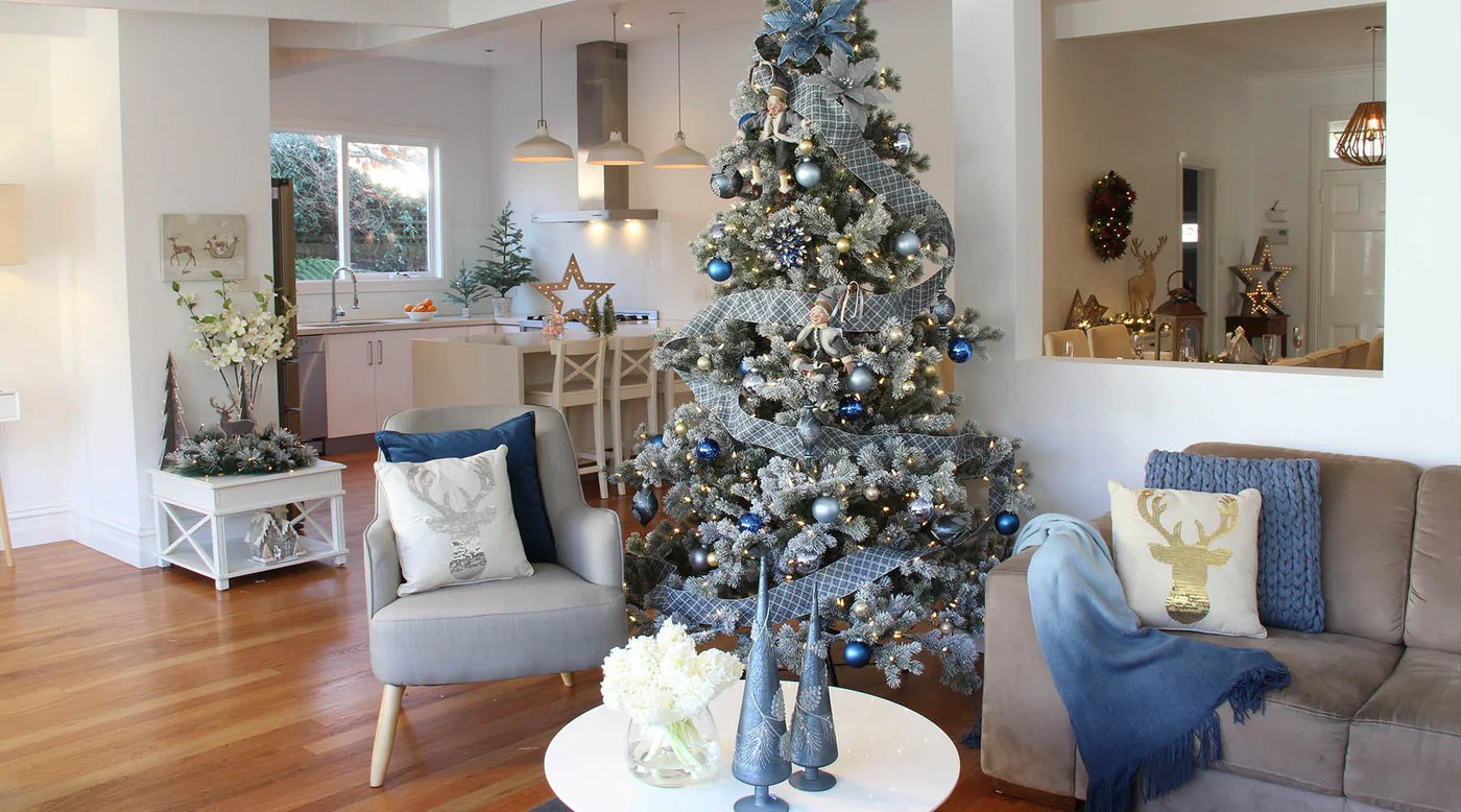 Teal Ornaments Living Room