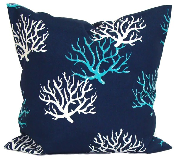 Indoor Outdoor Navy Blue Coral Elemenopillows
