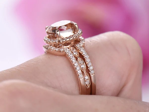 1 108 Oval Morganite Engagement Ring Forever Together Set Diamond Ring Guard 14k Rose Gold