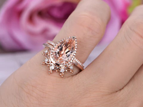 1 028 Pear Morganite Engagement Ring Sets Moissanite Tiara Wedding 14k Rose Gold Lord Of Gem