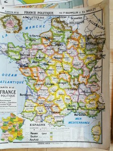 Oversized Vintage Map of France     Faraway Places Oversized Vintage Map of France Faraway Places