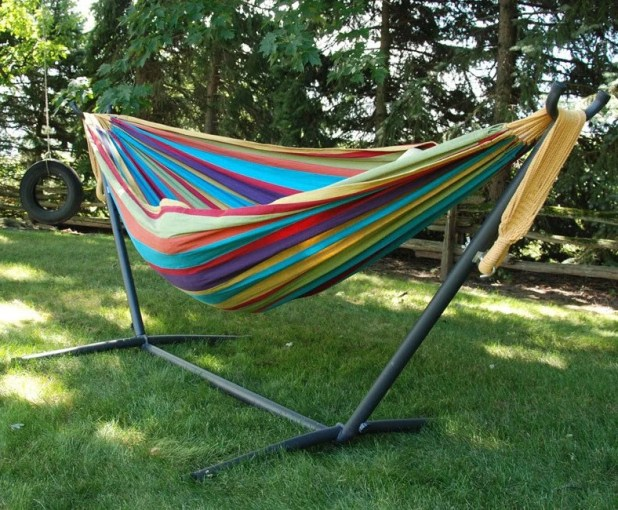 VIVERE Combo Double Cotton Hammock with Space Saving Steel Stand         VIVERE Combo Double Cotton Hammock with Space Saving Steel Stand  9ft