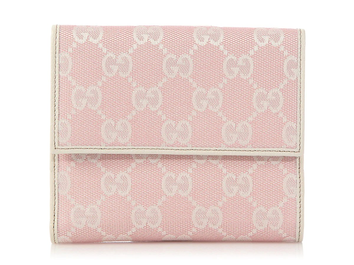 28a145fa2f12 Gucci Pink Monogram New Abbey French Wallet Ann's Fabulous Closeouts