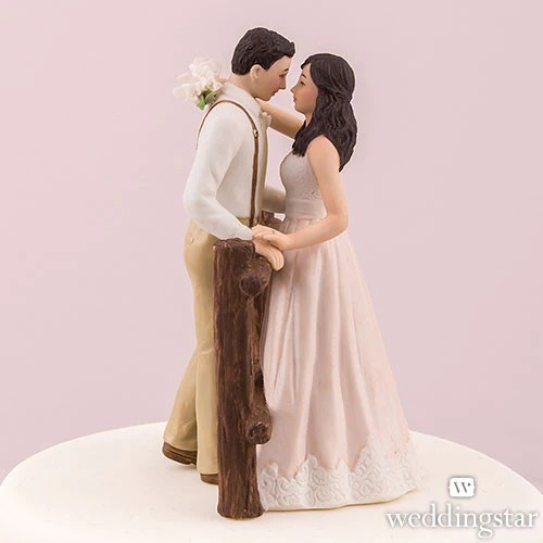 Rustic Couple Porcelain Figurine Wedding Cake Topper   WhereBridesGo com Rustic Couple Porcelain Figurine Wedding Cake Topper