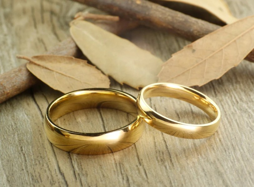 Handmade Gold Dome Plain Matching Wedding Bands  Couple Rings Set  Titanium  Rings Set  Anniversary Rings Set Handmade Gold Dome Plain Matching Wedding Bands  Couple Rings Set  Titanium  Rings Set