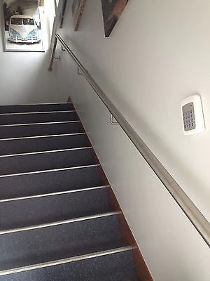 Stainless Steel Handrail With Flat Ends – Simplehandrails Co Uk   Steel Handrails For Stairs   Glass   Hand   Stainless Steel   Metal   Wall Mounted