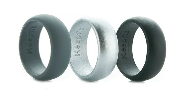 Metallic Silver Silicone Wedding Rings Keepfit Products
