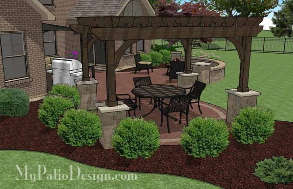 Curvy Courtyard Patio Design With Seating Wall Amp Pergola