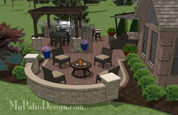 855 Sq Ft Outdoor Entertainment Patio Design With
