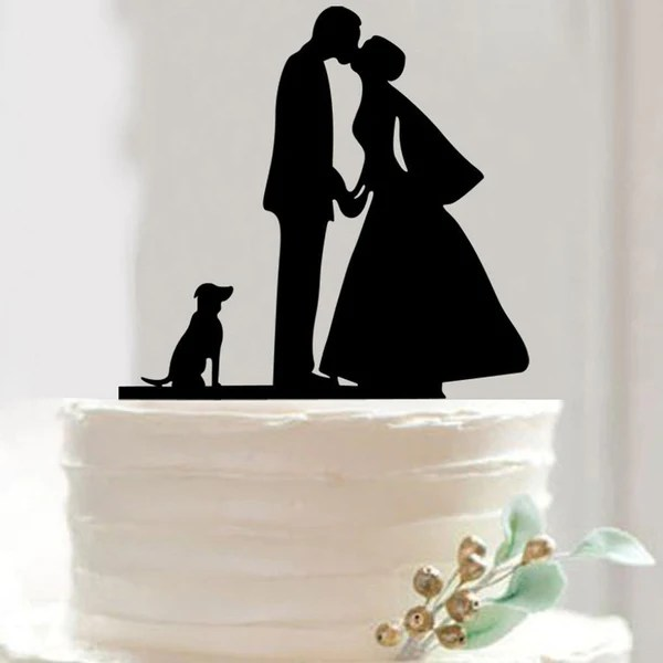 Cake Toppers   Pet Members     CHARMERRY Romantic Cake Topper  Bride Kiss Groom  Holding Hands  Dog Puppy