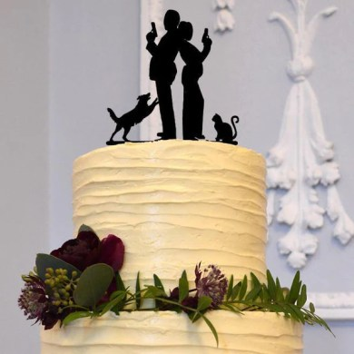 Cake Toppers   Pet Members     CHARMERRY Wedding Cake Topper  Creative Funny Humorous  Secret Agent  Dog  Cat    Couple