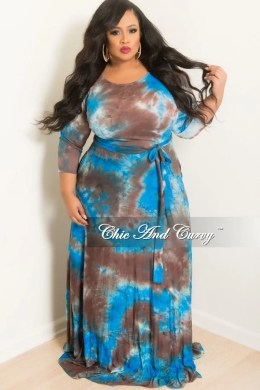 Final Sale Plus Size Long Dress with 3 4 Sleeve and Tie in Royal     Final Sale Plus Size Long Dress with 3 4 Sleeve and Tie in Royal Blue and  Brown Tie Dye