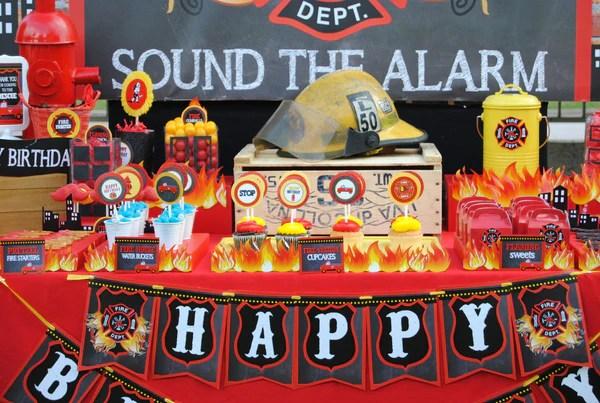 Fireman Birthday Fire Fighter Banner Fire Station