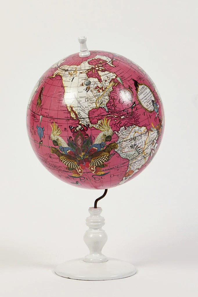 World Map Globe Bright Pink Small     Kristjana S Williams Studio World Map Globe Bright Pink Small