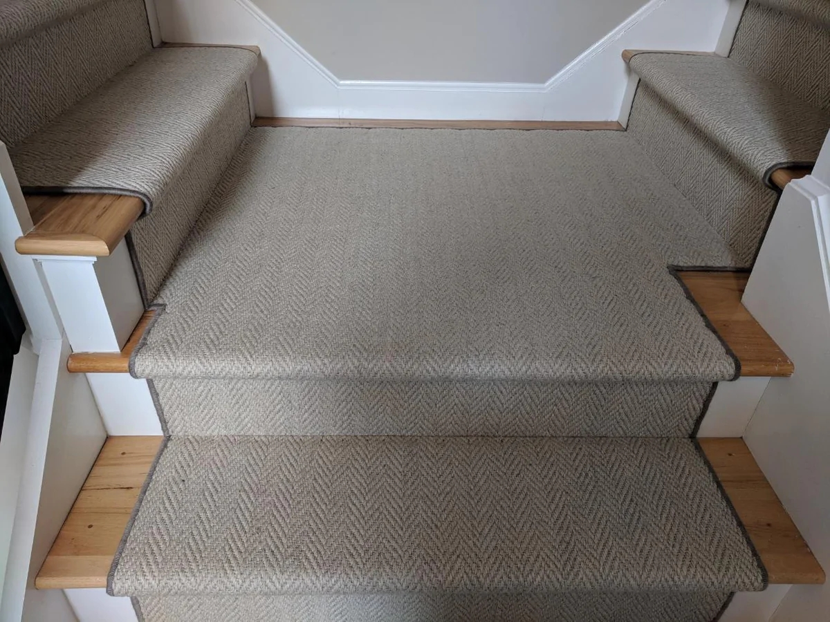 Heatherly Cashmere Wool Stair Runner Project Custom Cut And Serged   Grey Herringbone Carpet Stairs   Living Room   Flat Weave   Hartley   Patterned   Modern