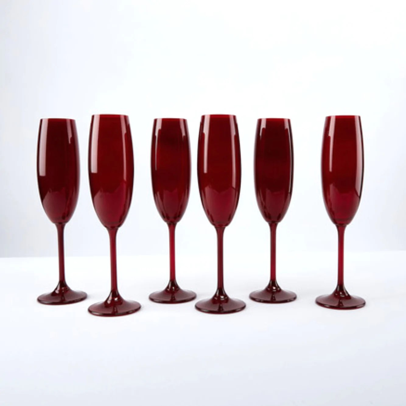Red Colored Bohemian Glass Champagne Flutes