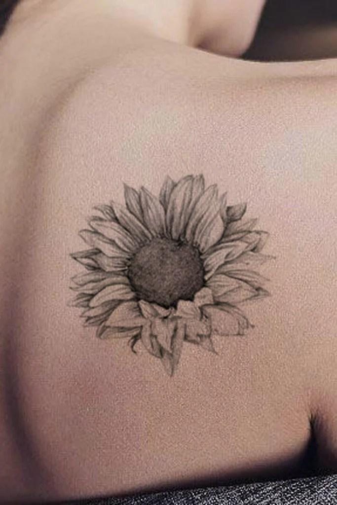 Grace Realistic Black & White Sunflower Temporary Tattoo ...