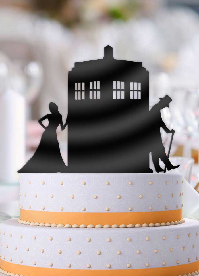 Doctor Who and Companion Leaning Tardis Wedding Cake Topper     Bee3dgifts Doctor Who and Companion Leaning Tardis Wedding Cake Topper   Bee3dgifts