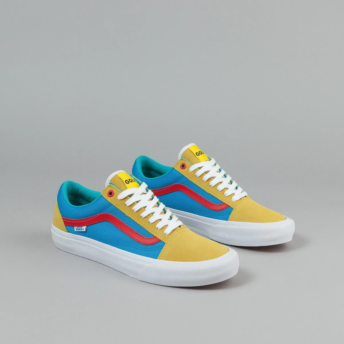Vans Old Skool Pro Shoes (Golf Wang) - Yellow / Blue / Red ...