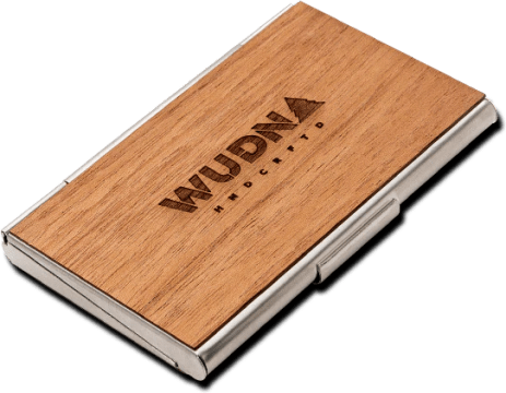 WUDN   Handmade Wooden Business Card Holder   FREE Shipping Get rid of the clutter and keep all of your cards neatly organized without  adding any bulk with your own wooden business card holder from WUDN