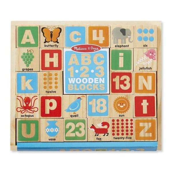 Melissa Amp Doug Abc 123 Wooden Blocks Set
