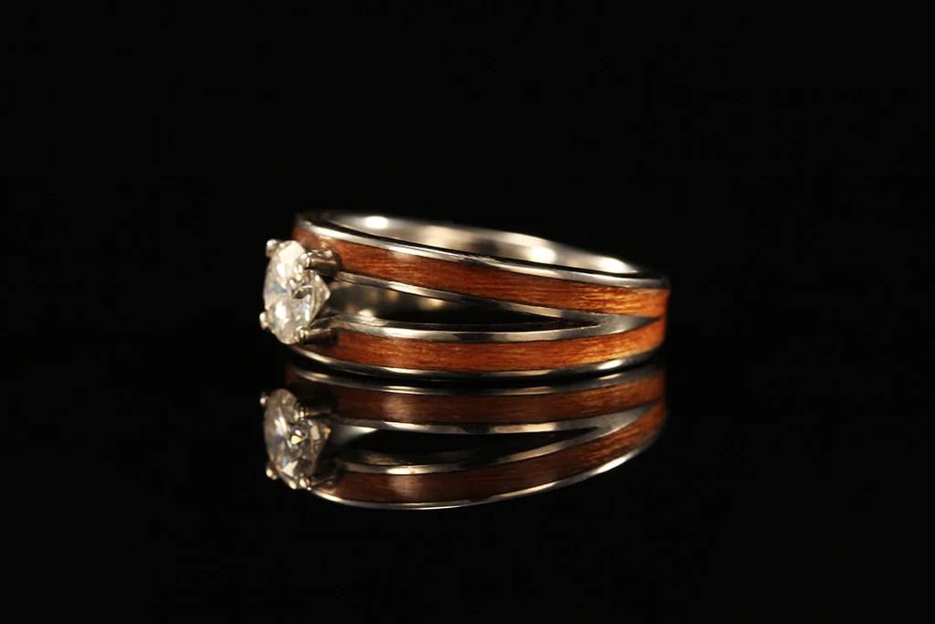 Women S Cherry Wood Ring 14k Gold Diamond Split Ring Chasing Victory