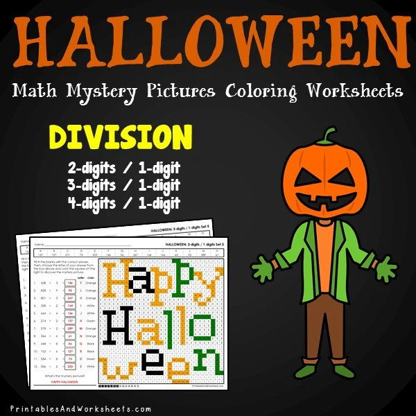 Halloween Division Mystery Pictures Coloring Worksheets   Printables     Halloween Division Coloring Worksheets