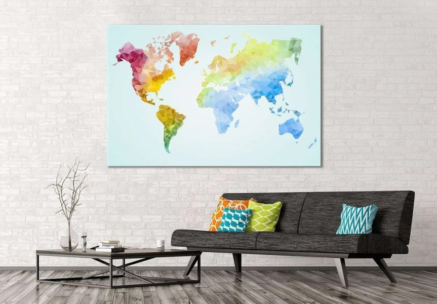 Low Poly World Map       110 Ready to Hang Canvas Print     Zellart Low Poly World Map       110 Ready to Hang Canvas Print