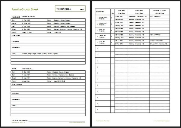 Printable Genealoy Forms