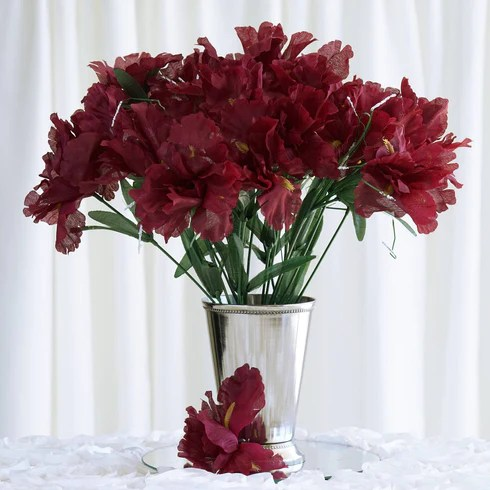 12 Bush 60 Pcs Burgundy Artificial Silk Iris Flowers Wedding Vase     60 Artificial Silk Iris Flowers   Burgundy