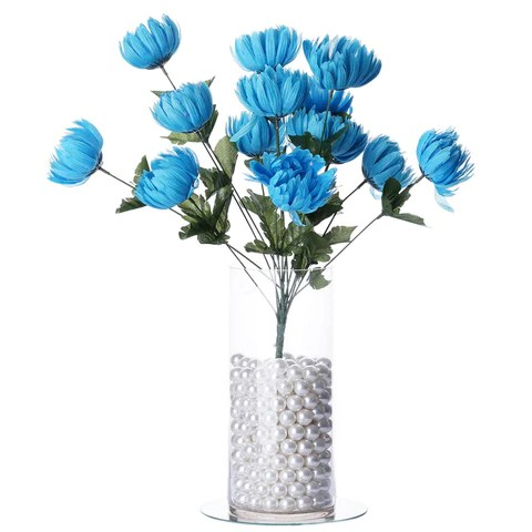 4 Bush 56 Pcs Turquoise Artificial Giant Silk Chrysanthemum Flowers         56 Giant Artificial Chrysanthemum Flowers   Turquoise