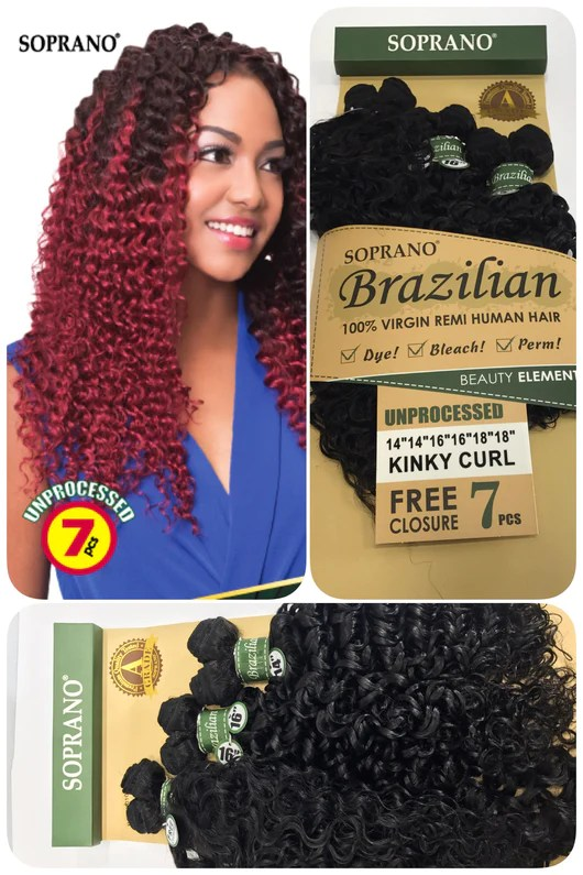 Soprano Brazilian Remi Virgin Bundle 100 Human Hair Kinky