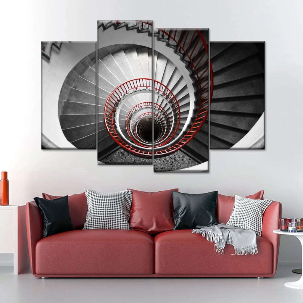 Spinning Stairs Pop Multi Panel Canvas Wall Art Elephantstock | Pop Design For Stairs Wall | Frame Up | Main Entrance | Wall Paper | Entry Wall | Luxury