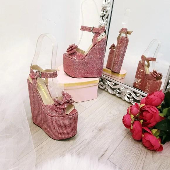 5bc86c1f0972 Shiny Claret Red Ribbon Peep Toe Wedge Shoes Tajna Club