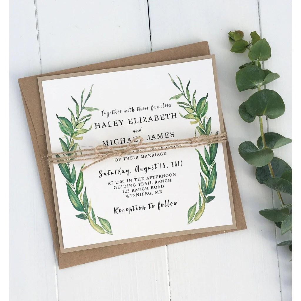 Rustic Kraft Wedding Invitations