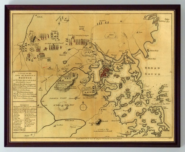 Battle of Lexington   Concord  Siege of Boston  1775 Boston  1775  Siege  Battle of Lexington   Concord  Framed Revolutionary  War Map