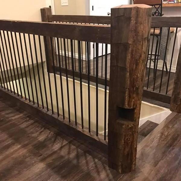 Reclaimed Barn Wood Railing Homestead Timbers | Reclaimed Wood Stairs For Sale | Stair Railing | Wooden | Staircase Makeover | Handrail | Van Gieson