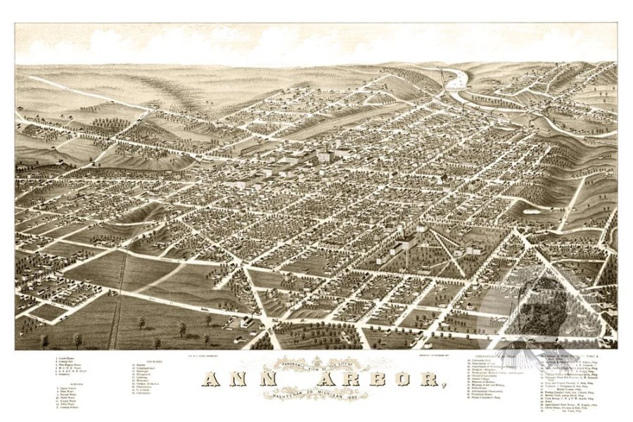 Ann Arbor  MI Historical Map   1880   Ted s Vintage Art     MI Historical Map   1880