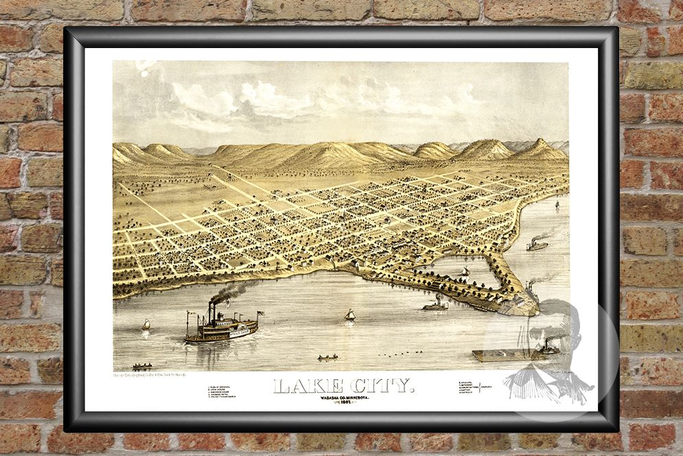 Lake City  MN Historical Map   1867   Ted s Vintage Art Lake City  MN Historical Map   1867