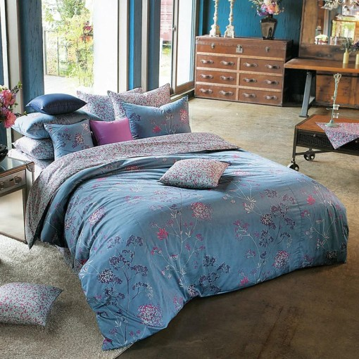 Sateen Vintage Blue  Purple   Hot Pink Floral Duvet Cover Set     Sateen Vintage Blue  Purple   Hot Pink Floral Duvet Cover Set   Bedding    Silver Fern Decor