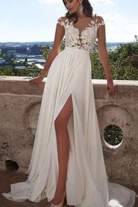 Beach Wedding Dresses  Sexy Beach Wedding Dresses   Simidress com Long White Lace A Line Prom Dress With Appliques Sexy Wedding Dress SVD356